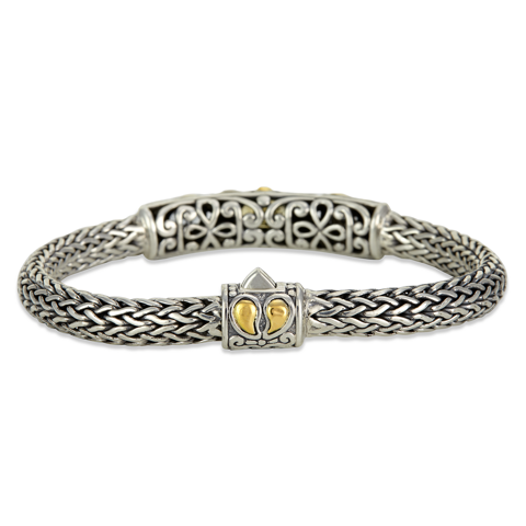 Citrine and Blue Topaz Sterling Silver Woven Bracelet with 18K Gold Accents