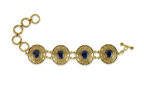 Blue Sapphire Gold Plated Sterling Silver Bracelet