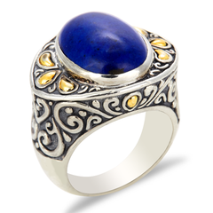 Lapis Sterling Silver Ring with 18K Gold Accents