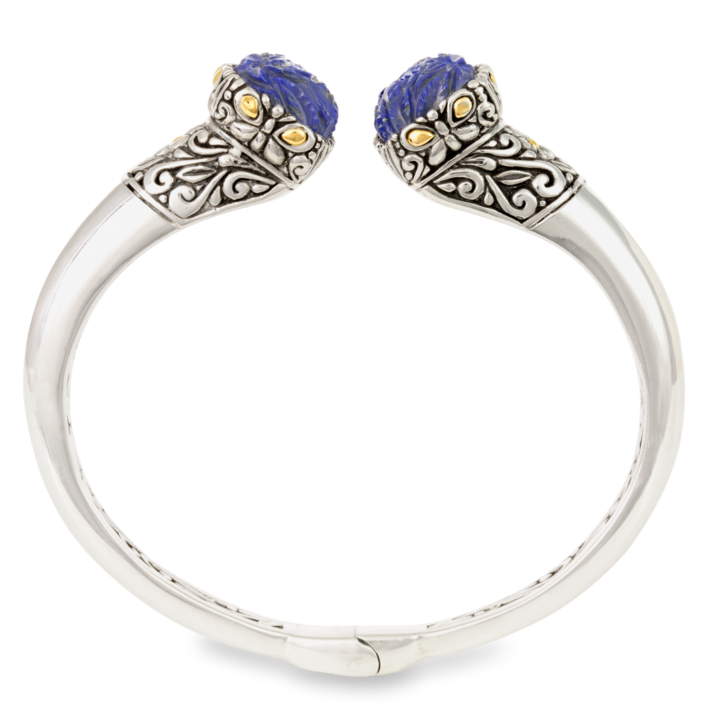 Carved Lapis Sterling Silver Hinged Bangle with 18K Gold Accents