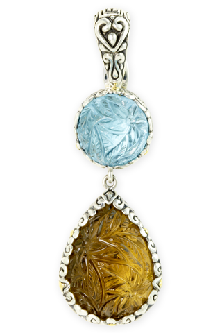 Carved Blue Topaz and Citrine Sterling Silver Pendant with 18K Gold Accents