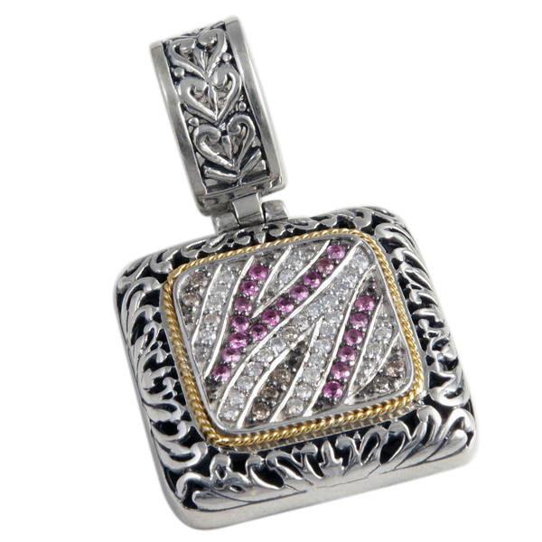 Pink Sapphire, Brown & White Diamond Pendant Set in Sterling Silver & 18K Gold Accents