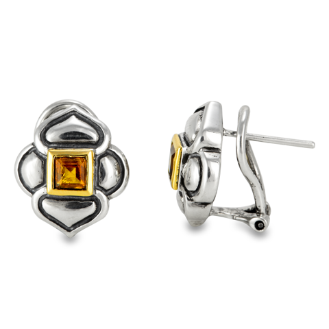 Citrine Sterling Silver Earrings with 18K Gold Accents