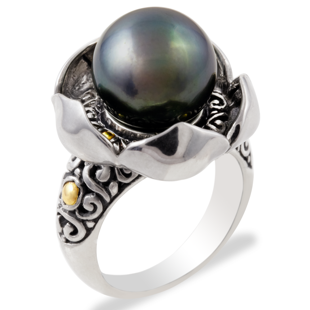 Black Tahitian Pearl Sterling Silver Ring with 18K Gold Accents