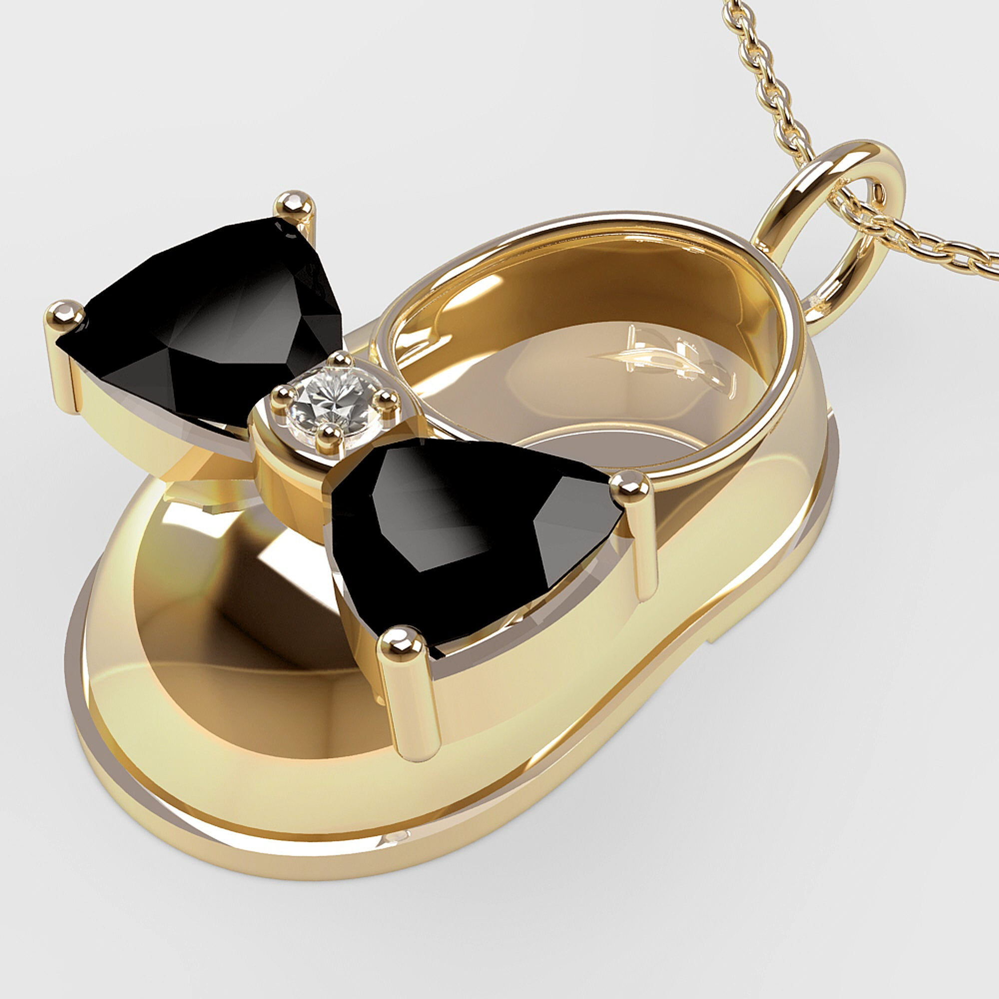 14K Yellow Gold Diamond and Onyx Baby Shoe Pendant