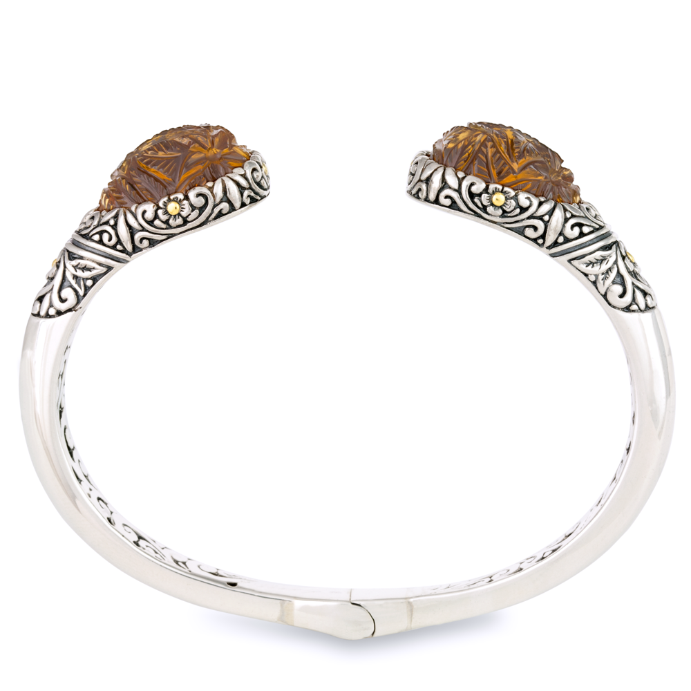 "Carved Cognac Quartz Bangle Set in Sterling Silver & 18K Gold Accents ""Janelle"""