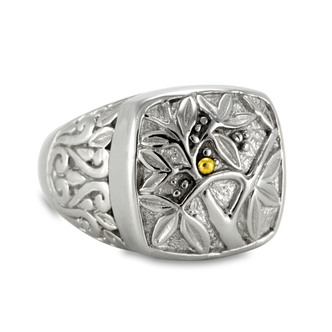 Engraved Sterling Silver Ring with 18K Gold Accents