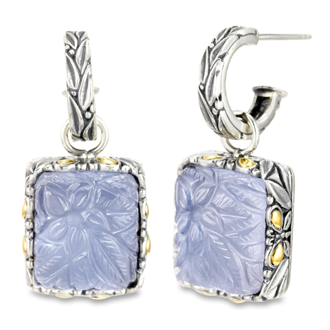 "Carved Chalcedony Earrings Set in Sterling Silver & 18K Gold Accents ""Gwen"""