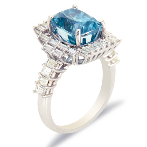 14K White Gold Diamond and Blue Zircron Ring