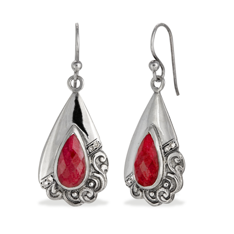 Ruby Sterling Silver Drop Earrings