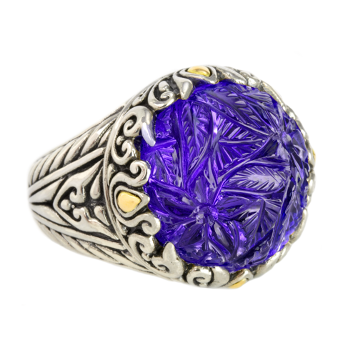 Carved Amethyst Sterling Silver Ring with 18K Gold Accents