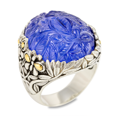 Carved Lapis Ring Set in Sterling Silver & 18K Gold Accents