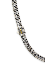 Sterling Silver Woven Necklace with 18K Gold Accents