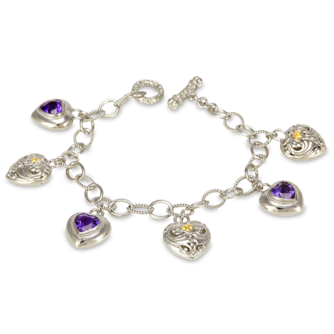 Amethyst Sterling Silver Heart Charm Bracelet with 18K Gold Accents