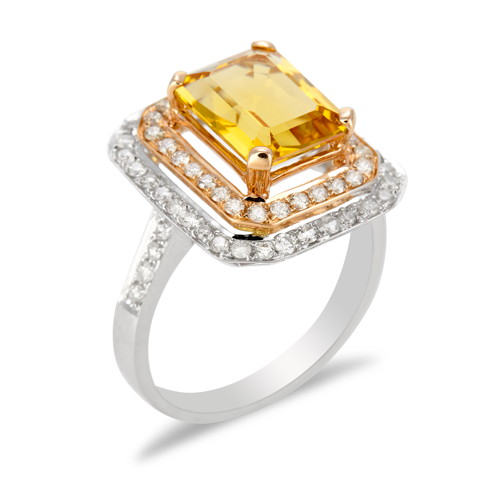 14K White and Rose Gold Diamond and Citrine Ring