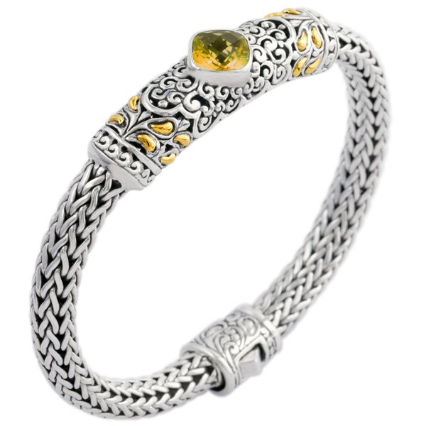 Citrine Woven Bracelet Set in Sterling Silver & 18K Gold Accents