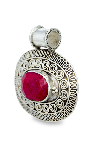 Ruby Pendant Set in Sterling Silver