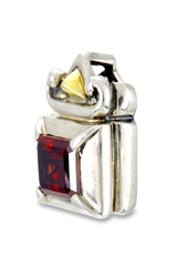 Garnet Pendant Set in Sterling Silver & 18K Gold Accents