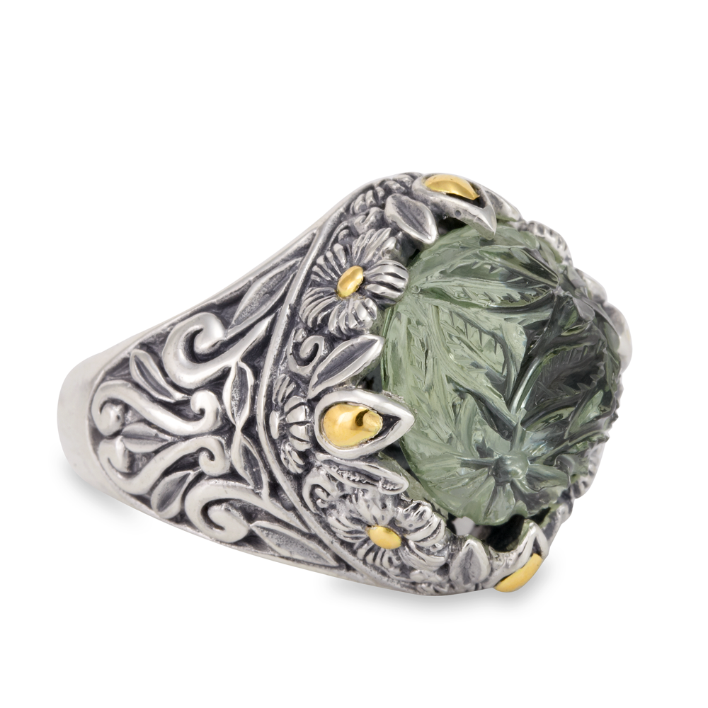 Carved Green Amethyst Ring Set in Sterling Silver & 18K Gold Accents