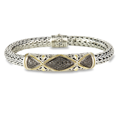 Black Diamond Sterling Silver Woven Bracelet with 18K Gold Accent