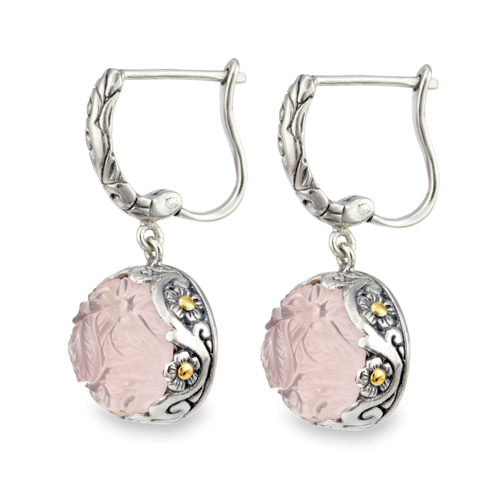 Carved Rose Quartz Earrings Set in Sterling Silver & 18K Gold Accents