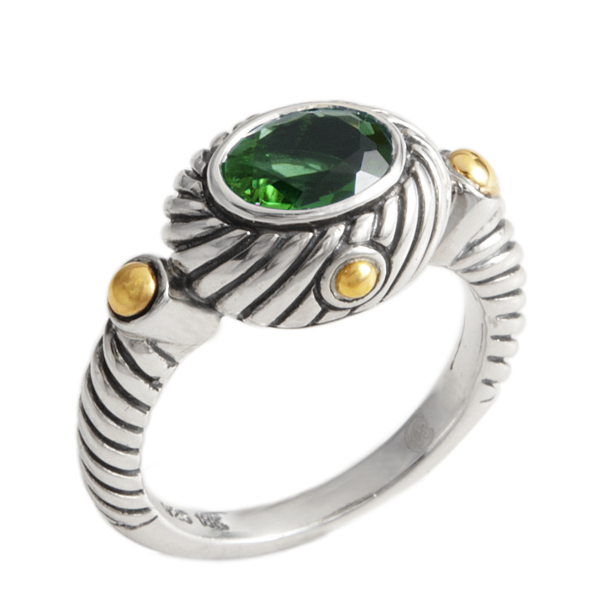 Peridot Sterling Silver Ring with 18K Gold Accents