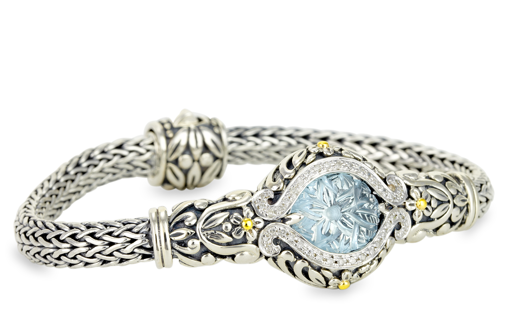 Carved Blue Topaz Sterling Silver Woven Bracelet with 18K Gold Accents