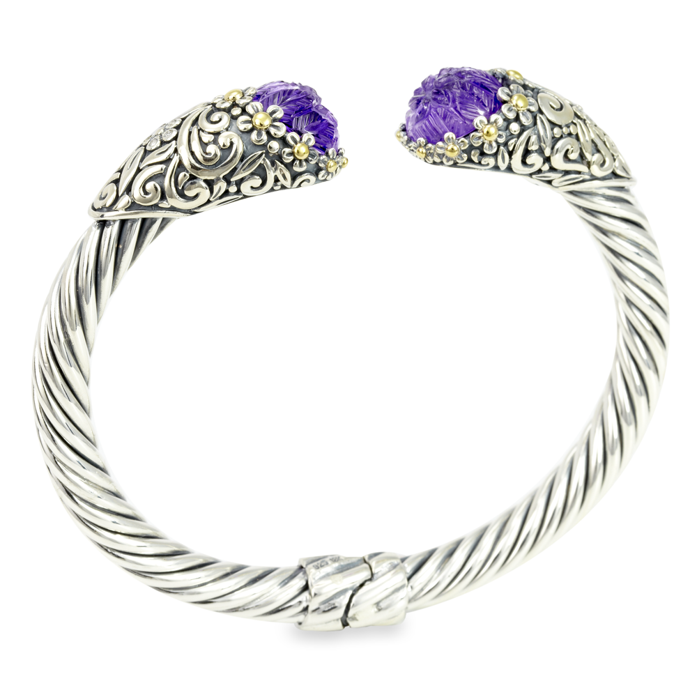 Carved Amethyst Sterling Silver Twisted Cable Bangle with 18K Gold Accents