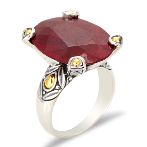 Ruby Sterling Silver Pronged Ring with 18K Gold Accents