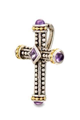 Amethyst Sterling Silver Cross Pendant with 18K Gold Accents