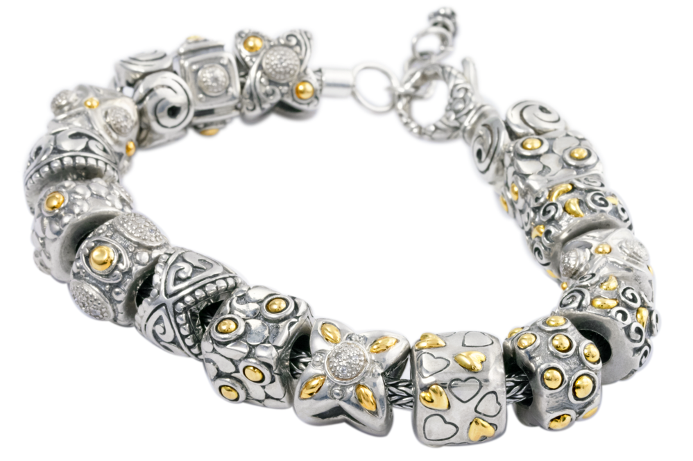 Sterling Silver Charm Bracelet with 18K Gold Accents
