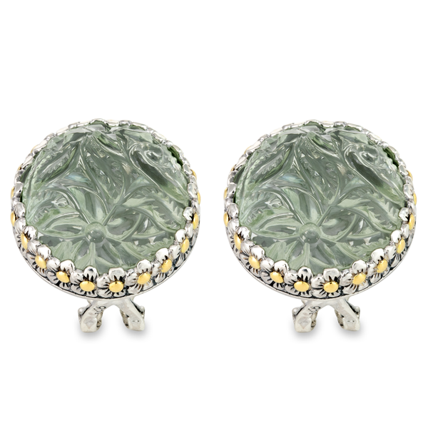 "Carved Green Amethyst Earrings Set in Sterling Silver & 18K Gold Accents ""Margret"""