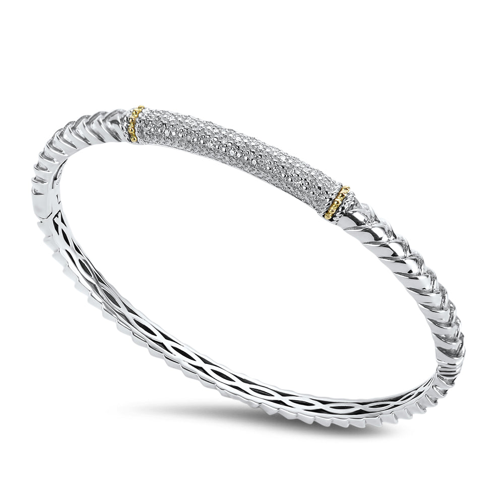 Diamond Sterling Silver Bangle with 18K Gold Accents