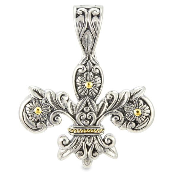 Sterling Silver Fluer De Lis Pendant with 18K Gold Accents
