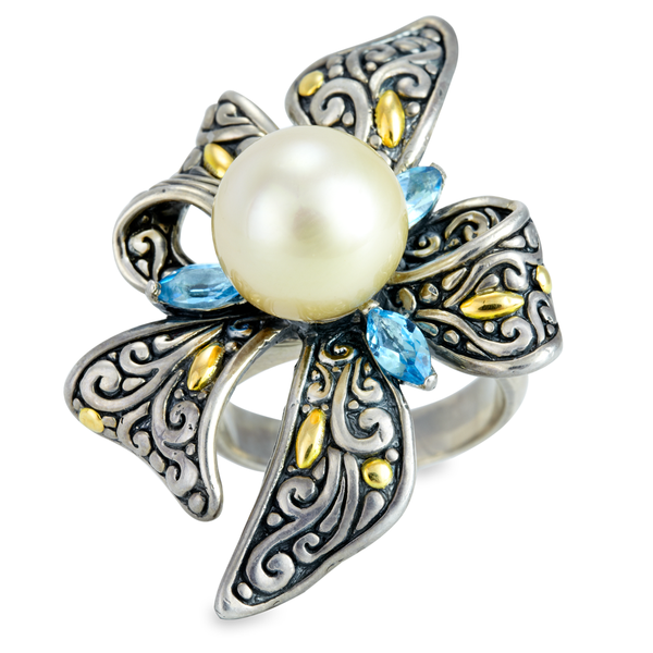 Yellow Tahitian Pearl and Blue Topaz Sterling Silver Ring with 18K Gold Accents
