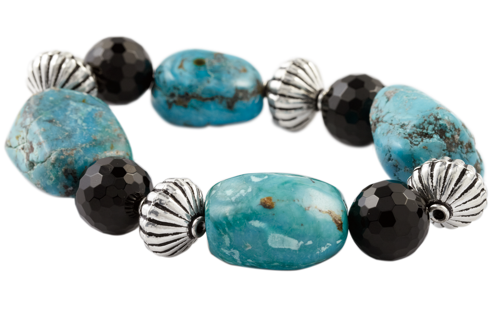 Turquoise and Onyx Beaded Bracelet With Sterling Silver