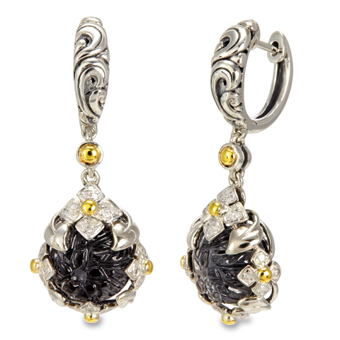 Carved Hematite and White Crystal Doublet Sterling Silver Earrings with 18K Gold Accents