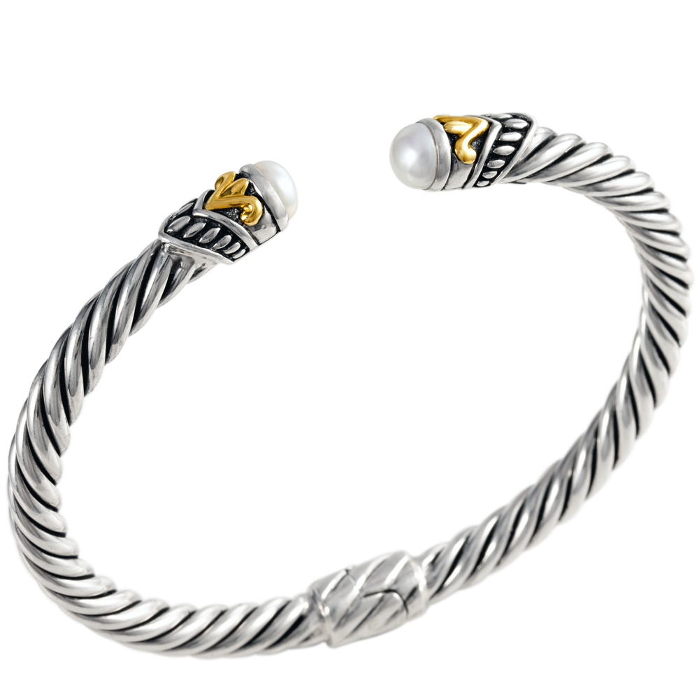 White Pearl Sterling Silver Twisted Cable Bangle with 18K Gold Accents