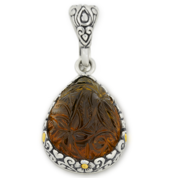 Carved Cognac Quartz Briolette Sterling Silver Pendant with 18K Gold Accents