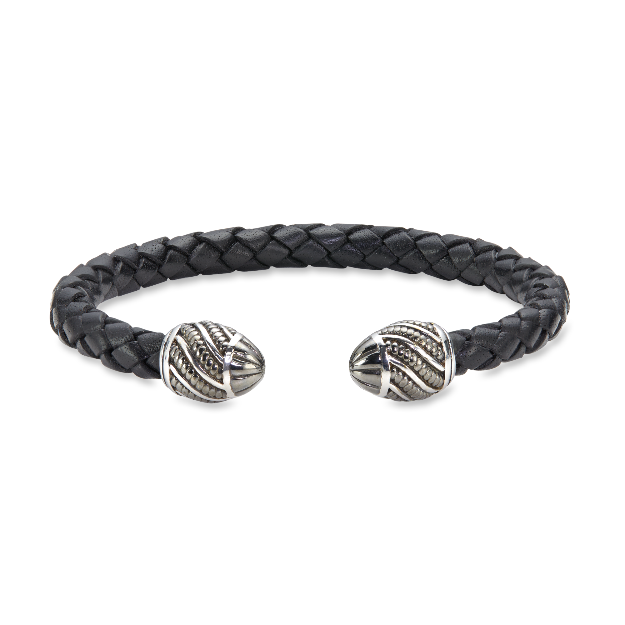 Sterling Silver Black Leather Bangle