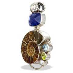 Sapphire, Fossil and Multi Gemstone Sterling Silver Pendant