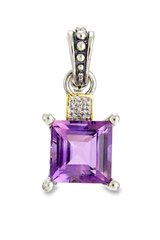 Amethyst and Diamond Pendant Set in Sterling Silver & 18K Gold Accents