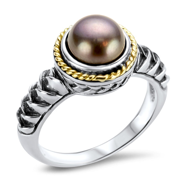 Black Pearl Sterling Silver Ring with 18K Gold Accents