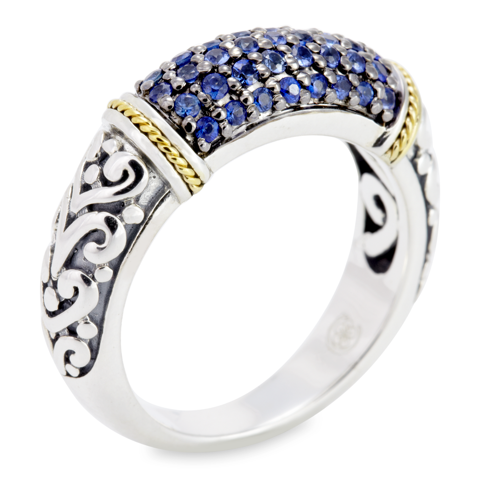Sapphire Sterling Silver Ring with 18K Gold Accents