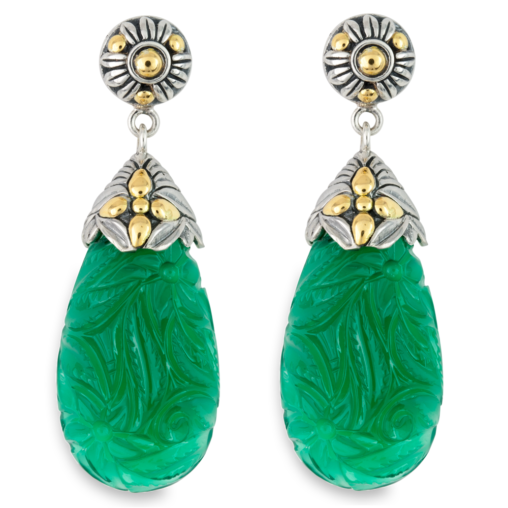 Carved Green Onyx Sterling Silver Drop Earrings with 18K Gold Accents