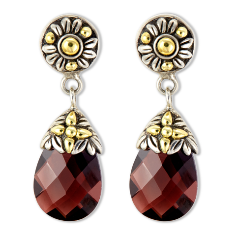 Garnet Sterling Silver Drop Earrings with 18K Gold Accents