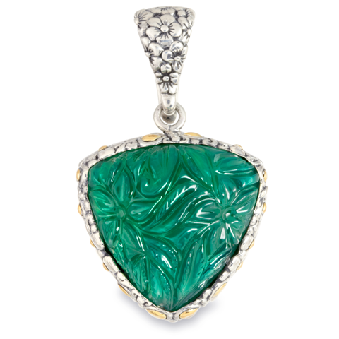 "Carved Green Onyx Pendant Set in Sterling Silver & 18K Gold Accents ""Tessa"""