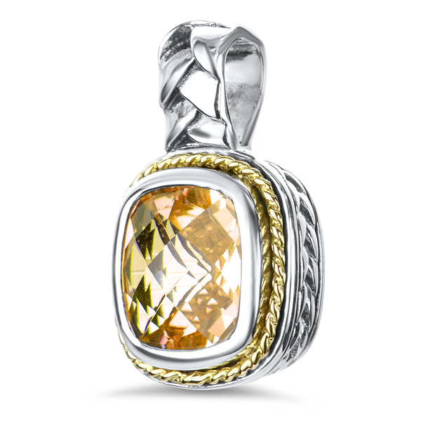 Citrine Sterling Silver Pendant with 18K Gold Accents