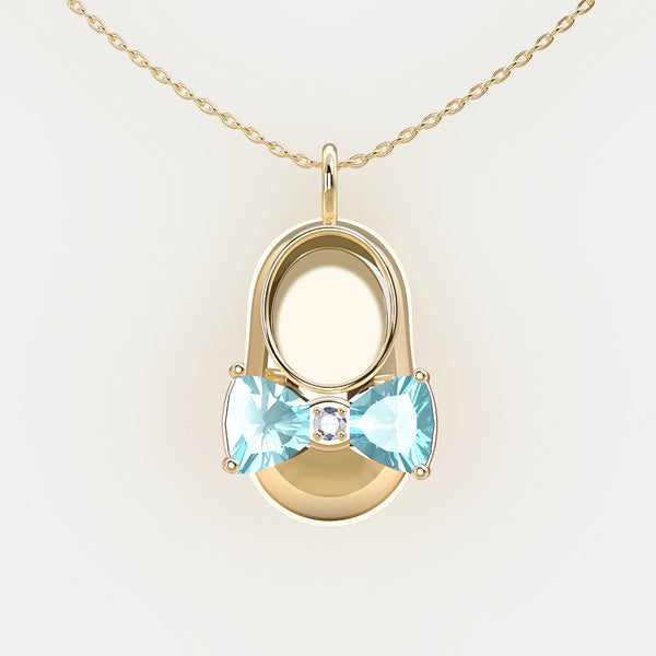 14K Yellow Gold Diamond and Aquamarine Baby Shoe Pendant