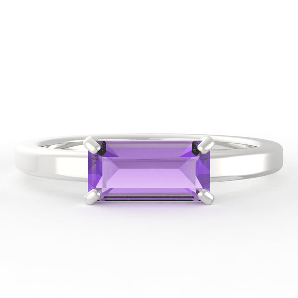 Amethyst Baguette 14K White Gold Ring